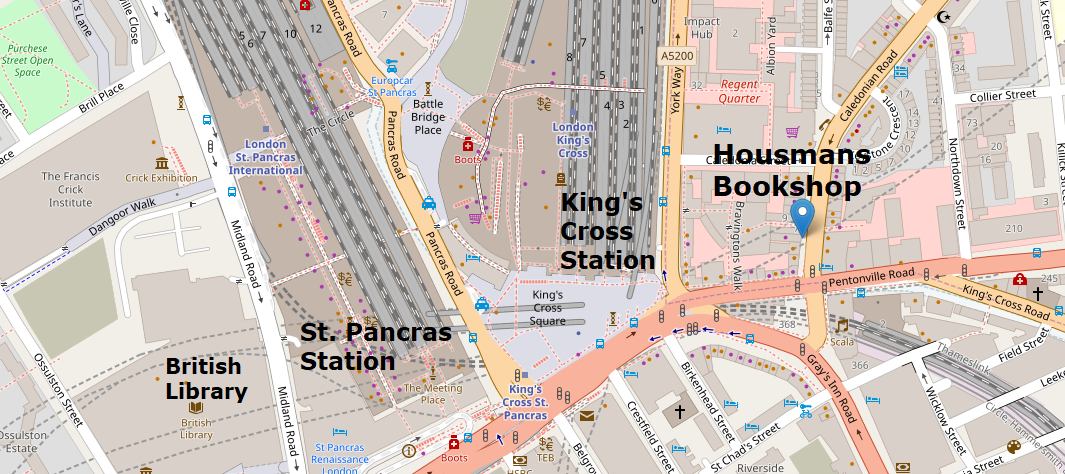 Image of map showing Housmans Bookshop, King's Cross St. Pancras and Euston Stations. Plus British Library