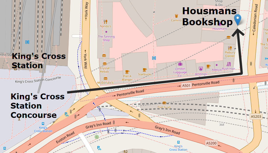 Walking route from King's Cross Station to Housmans Bookshop